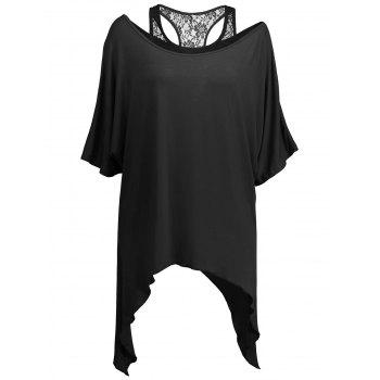 Handkerchief Batwing T-Shirt with Lace Tank Top - BLACK 2XL