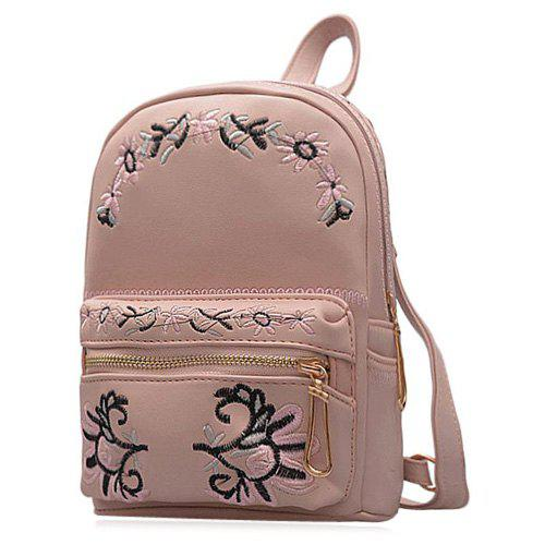 Flower Embroidered Faux Leather Backpack - PINK