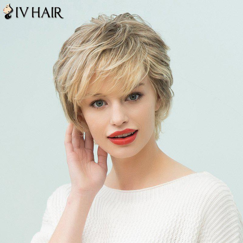Siv Hair Short Sided Bang Layered Human Hair Wig - COLORMIX