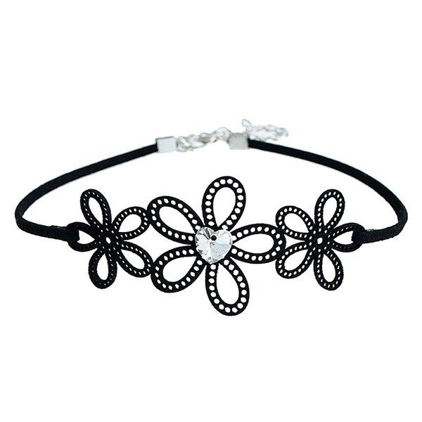 Hollow Out Flowers Heart Rhinestone Choker Necklace - BLACK