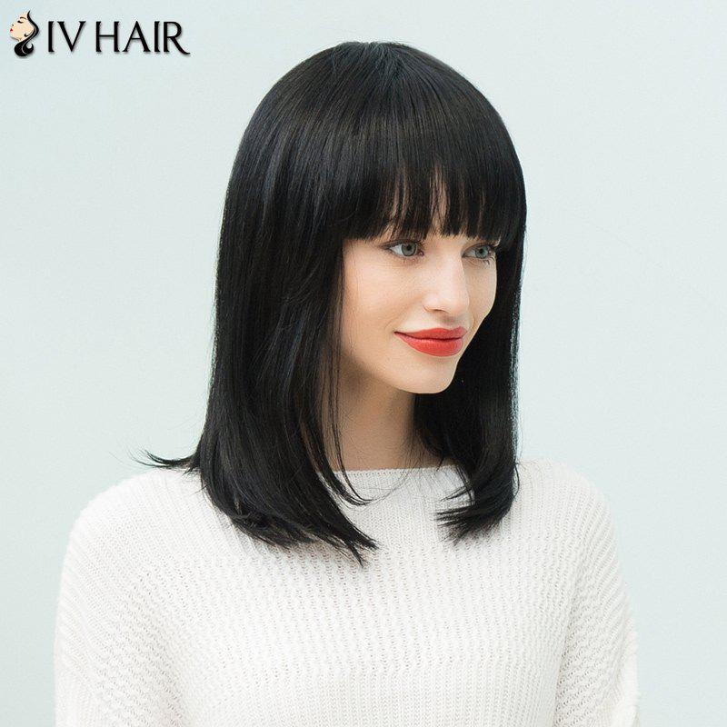 Siv Hair Long Neat Bang Straight Bob Human Hair Wig - JET BLACK