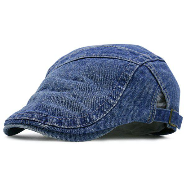 Denim Reminiscence Spliced Newsboy Hat - DEEP BLUE