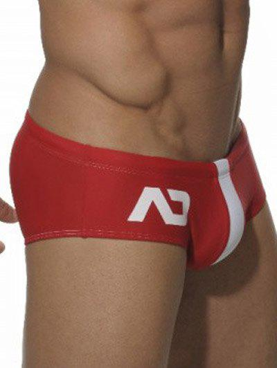 Color Block Printed Natation Briefs - Rouge M