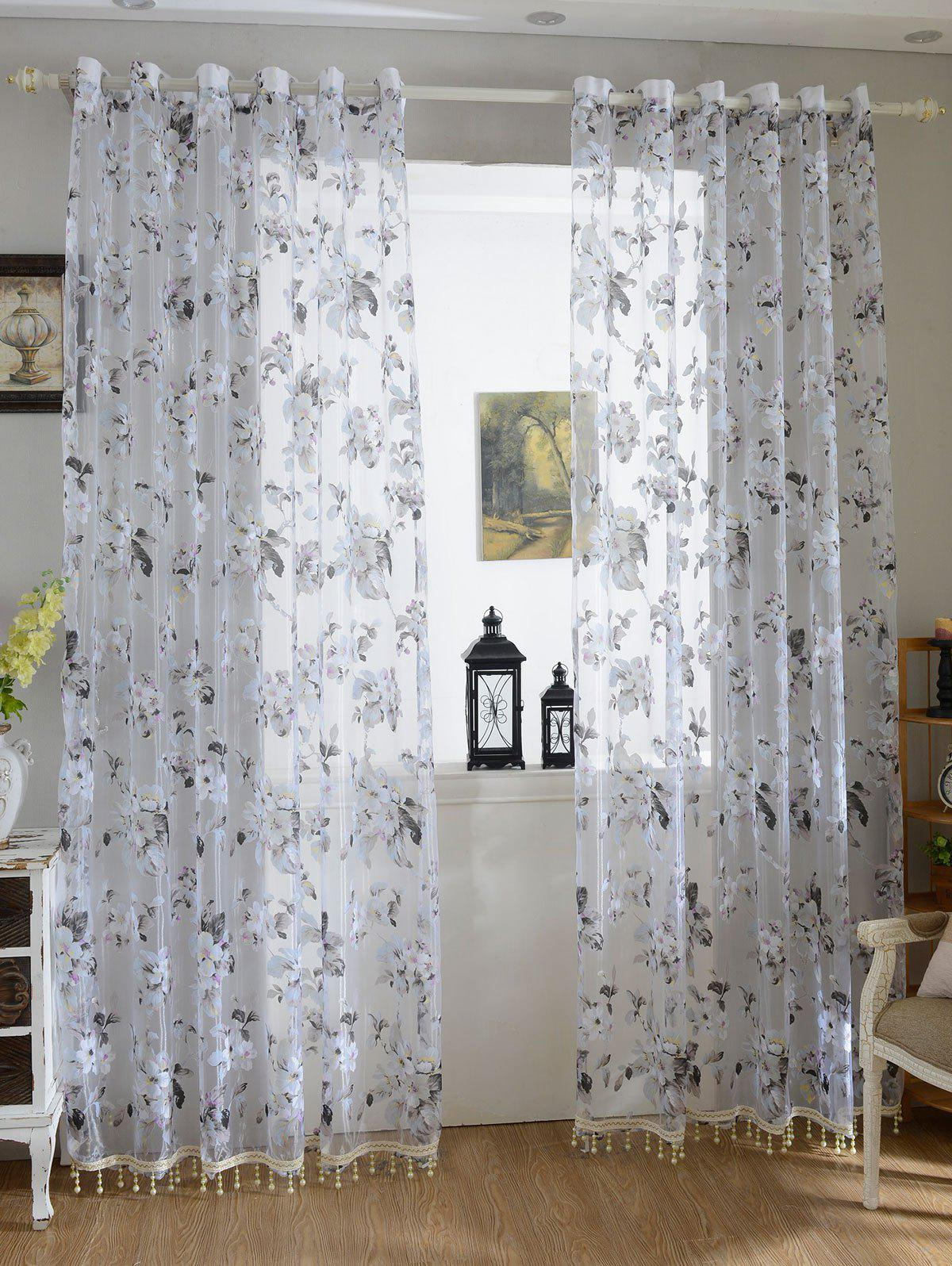 Flower Sheer Fabric Tulle Curtain with Beads Pendant - GREY WHITE 100*200CM