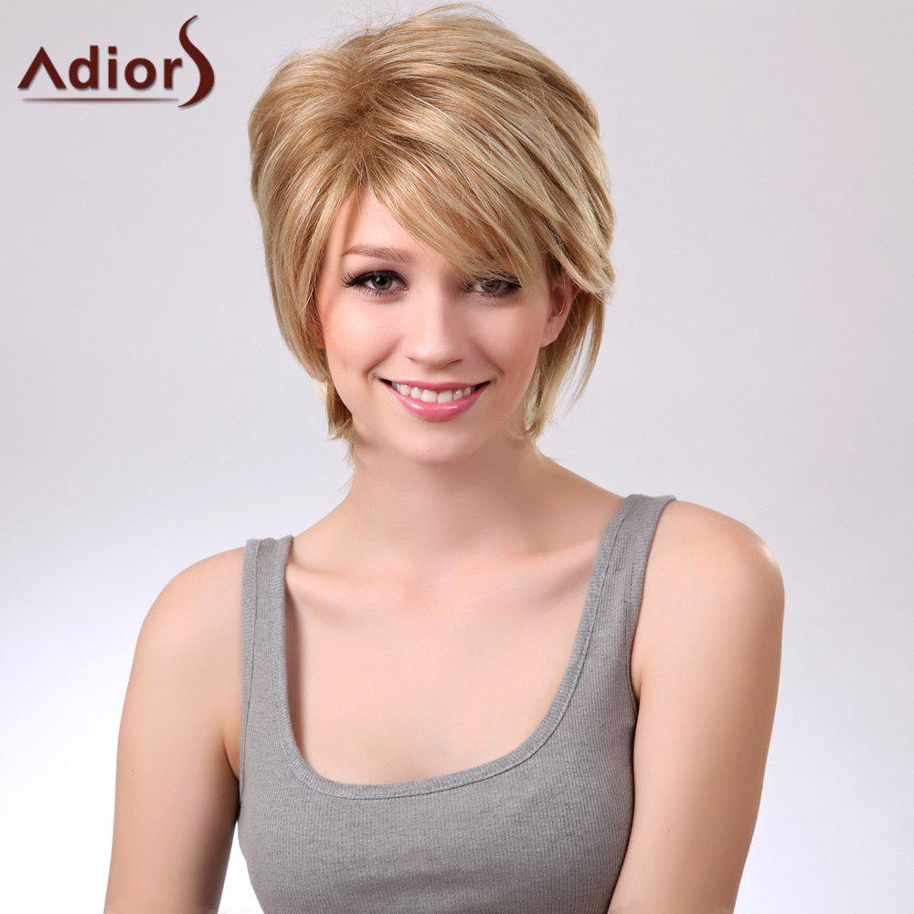 Adiors Short Layered Side Bang Straight Synthetic Wig - COLORMIX