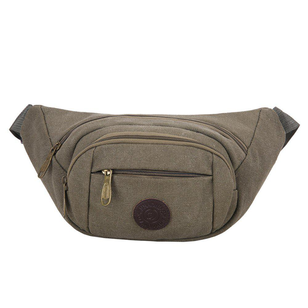 Multifunction Canvas Waist Bag - GREEN GREY