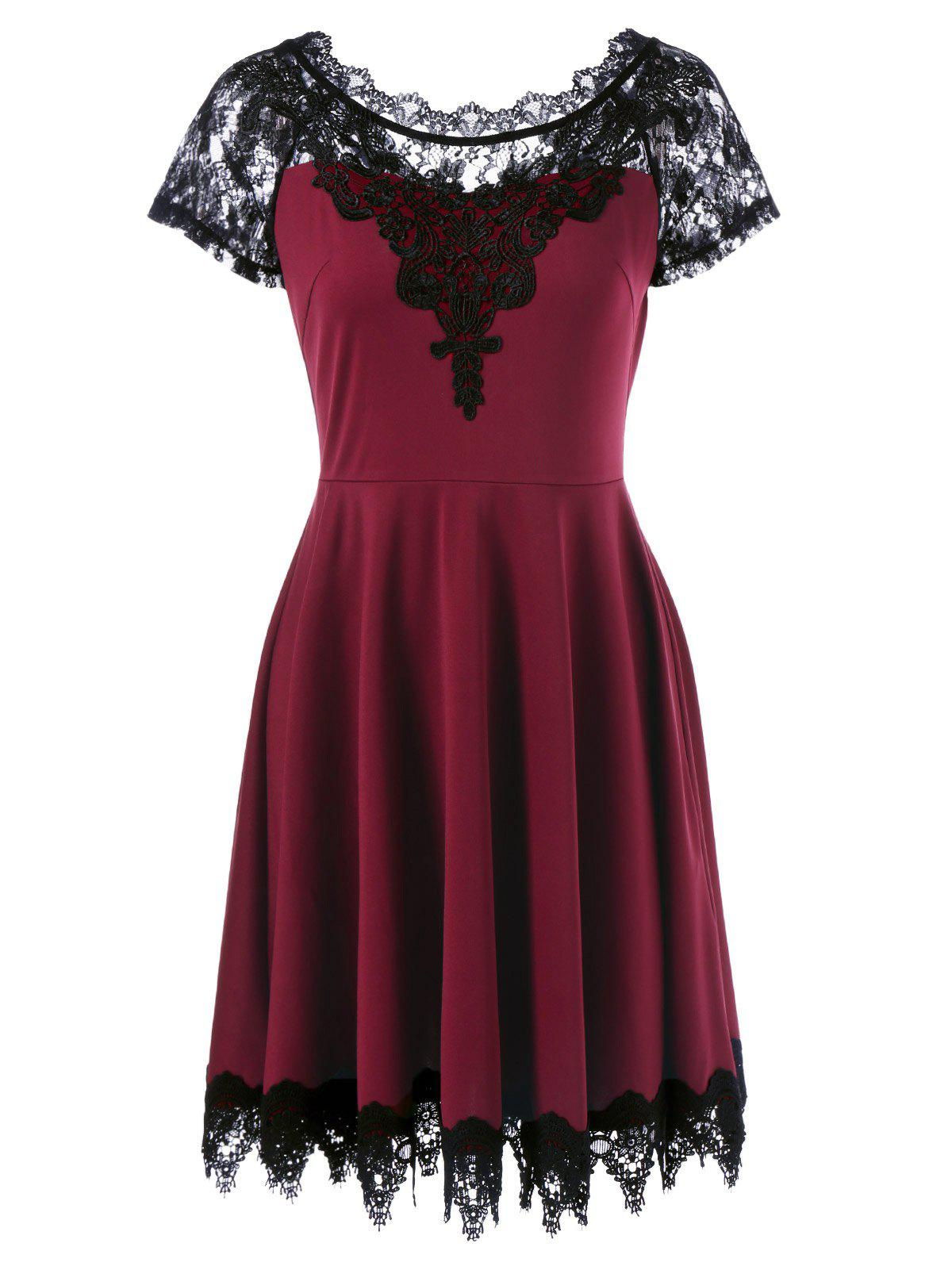 Lace Insert Skater Dress - WINE RED XL