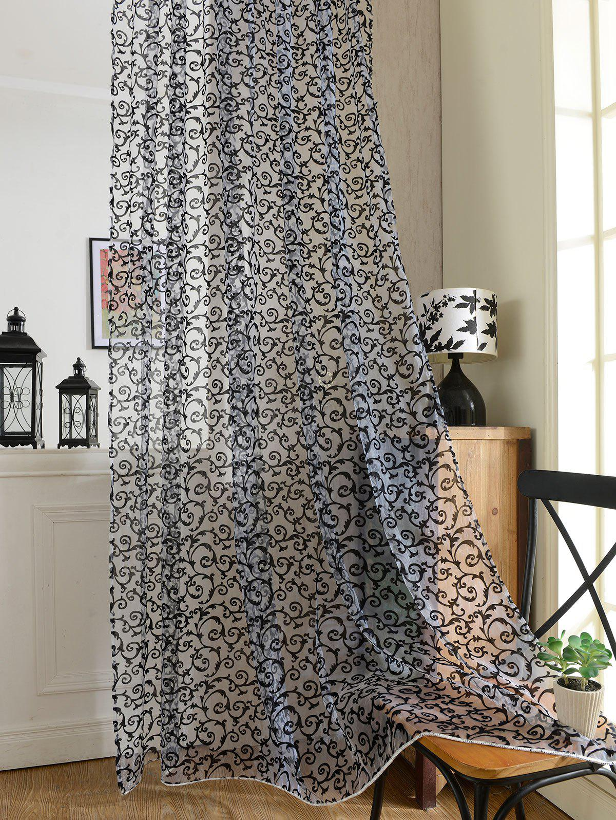 2 Pieces Rattan Embroidery Sheer Screen Tulle Curtains - BLACK 100*200CM (2PCS/SET)