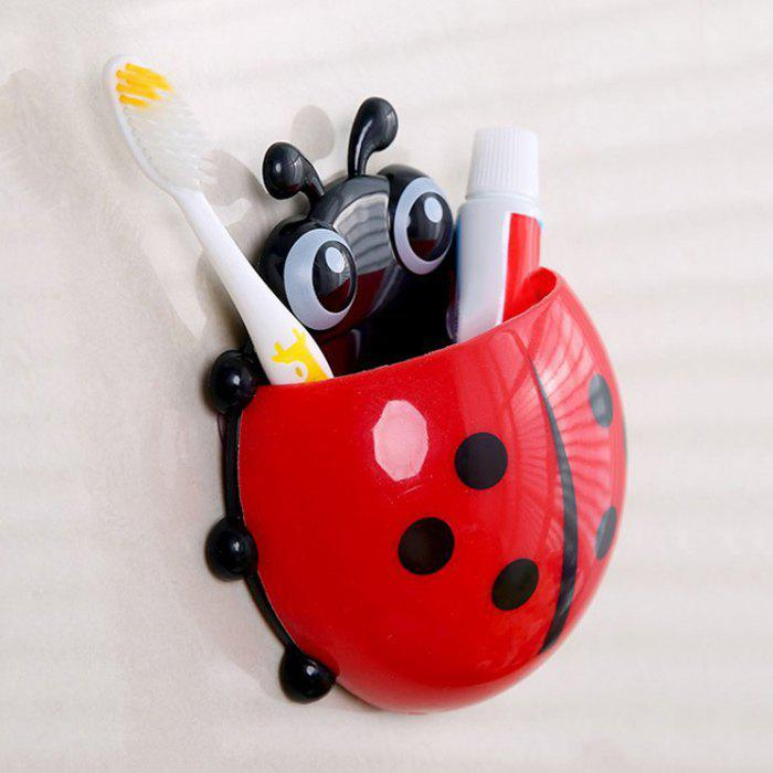 Cartoon Ladybird Suction Toothbrush Holder - RED