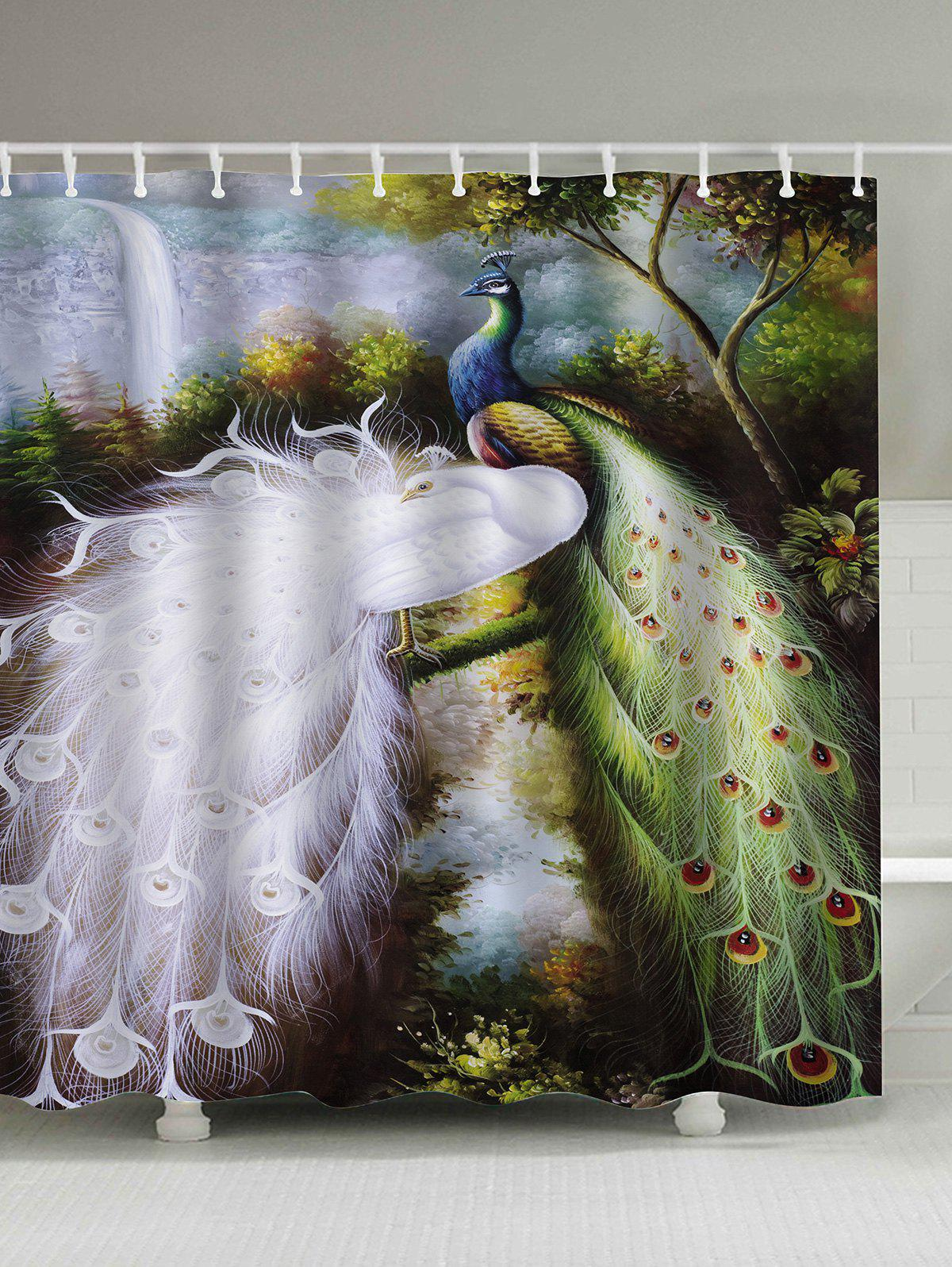 Oil Painting Peacocks Waterproof Shower Curtain - COLORMIX 180*180CM