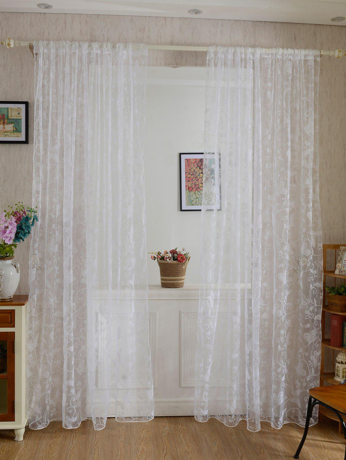 2Pcs/Set Butterflies Embroidery Window Sheer Tulle Curtain roman rose embroidery sheer screening tull curtain
