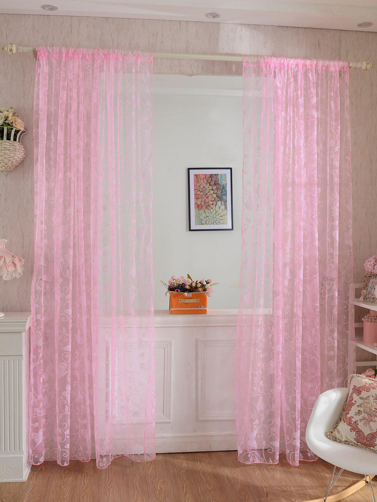 2Pcs/Set Butterflies Embroidery Window Sheer Tulle Curtain window decor roman pastoral style sheer tulle curtain