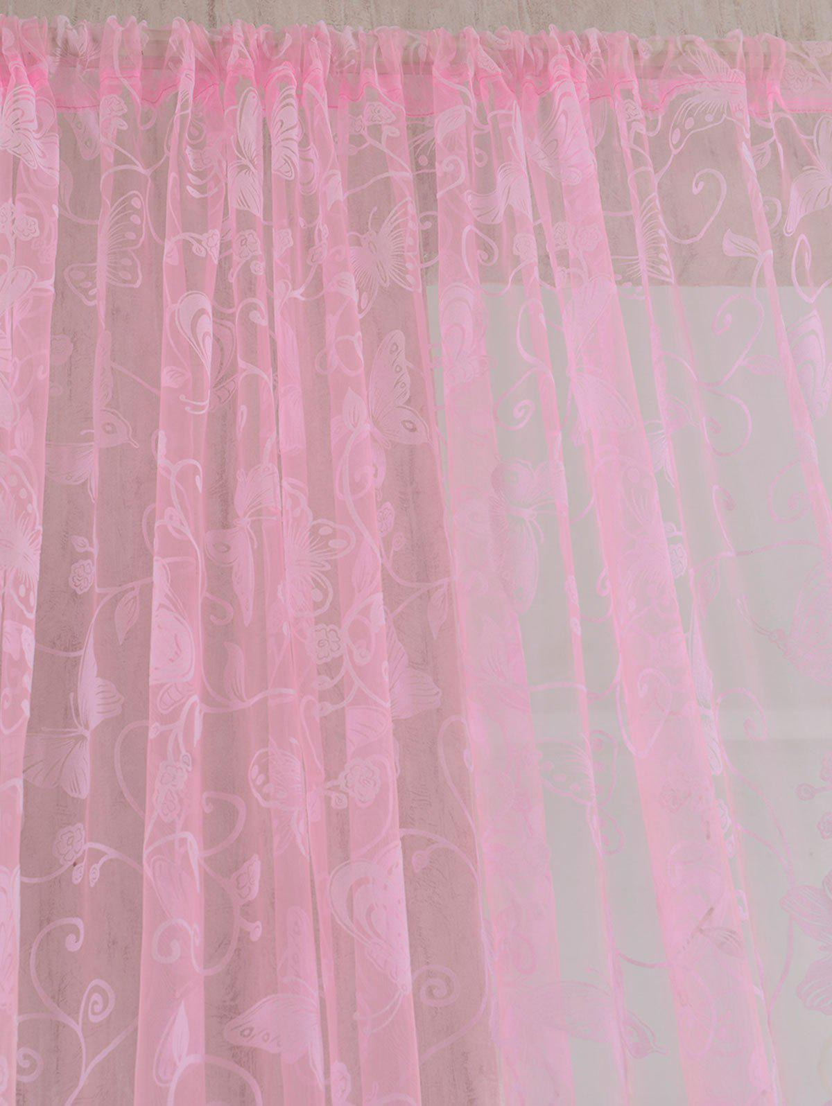 2Pcs/Set Butterflies Embroidery Window Sheer Tulle Curtain - PINK 100*200CM(2PCS/SET)