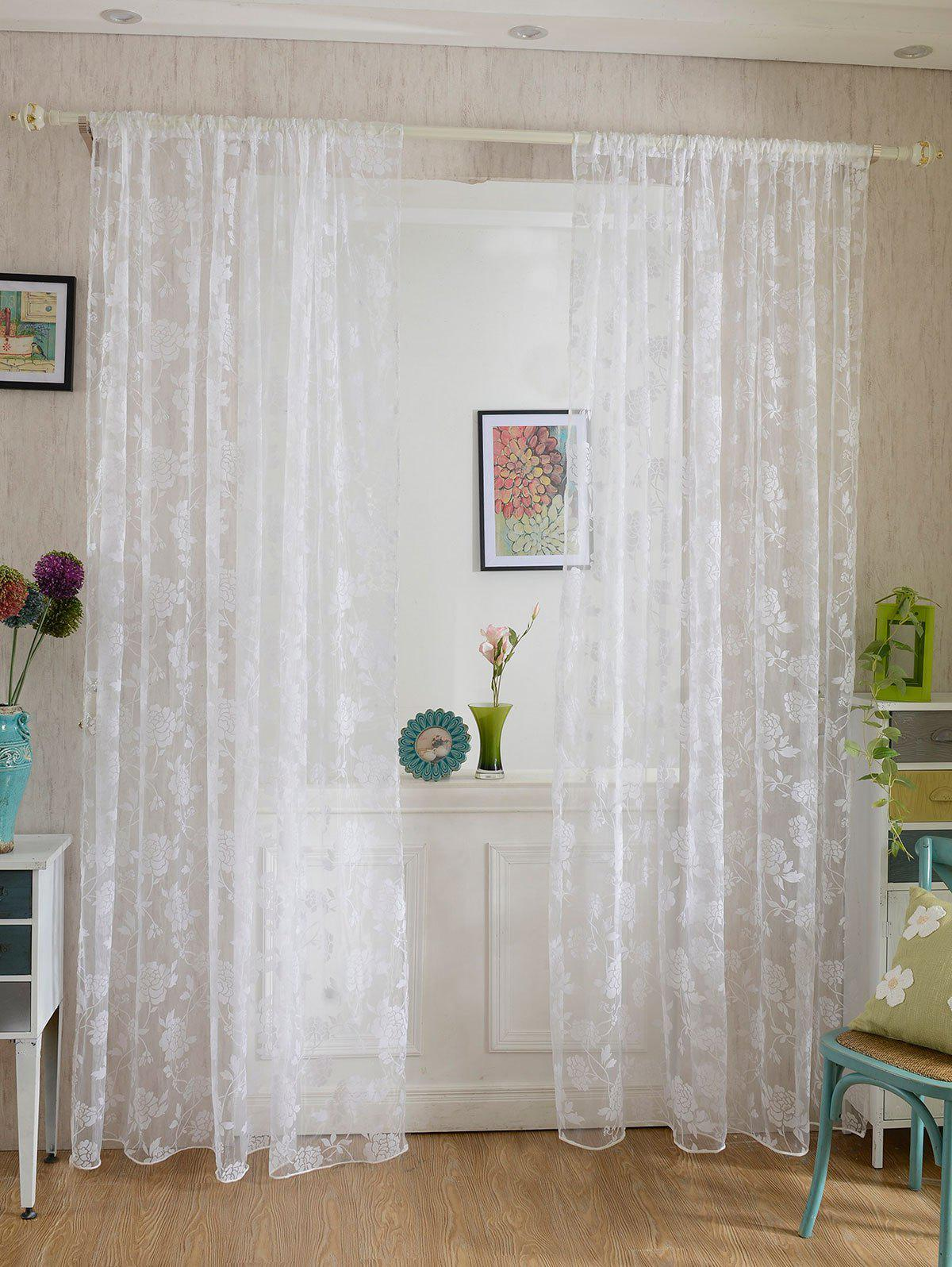 2 Panels Rose Embroidery Window Sheer Tulle Fabric Curtain - WHITE 100*200CM (2PCS/SET)