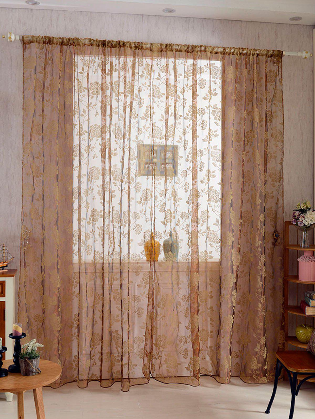 2 Panels Rose Embroidery Window Sheer Tulle Fabric Curtain roman rose embroidery sheer screening tull curtain
