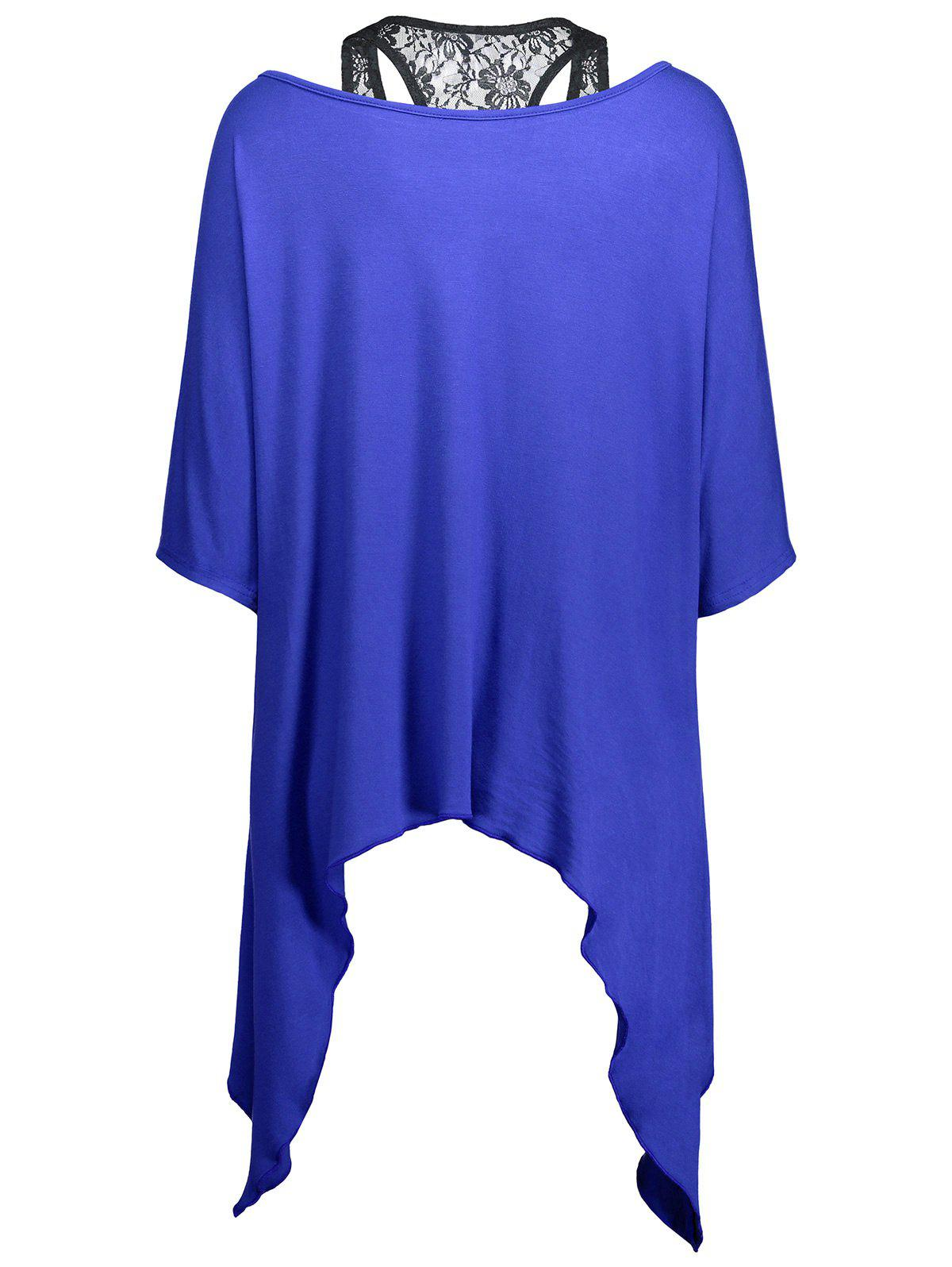 Handkerchief Batwing T-Shirt with Lace Tank Top - BLUE M