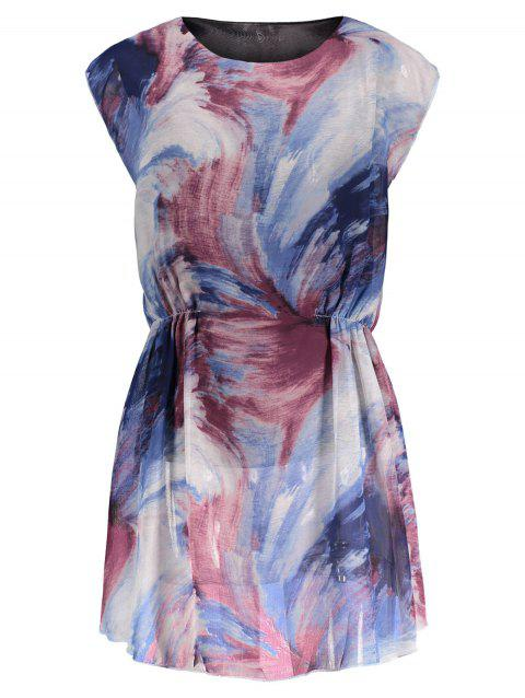 Mini Tie Dye Chiffon Dress - BLUE M