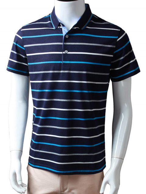Half Buttoned Striped Golf Shirt - BLUE 2XL