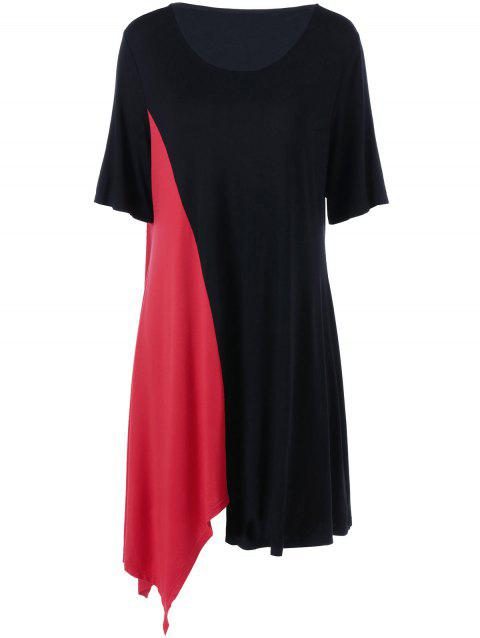 5341a2ad19d 2019 Color Block Plus Size T-Shirt Dress In RED BLACK 5XL ...