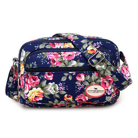 Colour Block Canvas Flower Printed Crossbody Bag - CERULEAN