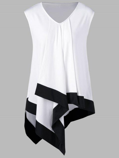 Plus Size Asymmetrical Longline V Neck T-Shirt - WHITE/BLACK 5XL