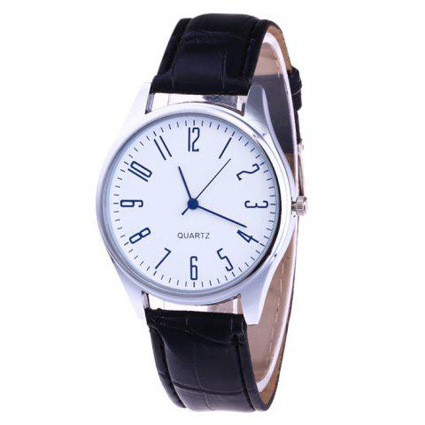 Faux Leather Analog Number Watch - BLACK