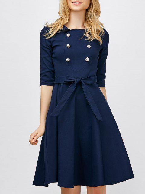Double Breasted Belted Vintage Dress - CERULEAN XL