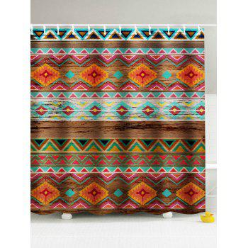 Chevron Wooden Grain Print Shower Curtain