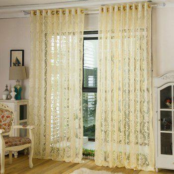 Europe Floral Sheer Voile Fabric Curtain For Living Room - PALOMINO W39 INCH *L98 INCH