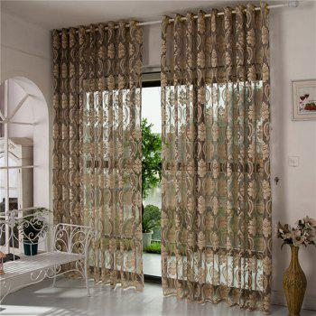 Europe Floral Sheer Voile Fabric Curtain For Living Room - COFFEE W39 INCH *L98 INCH