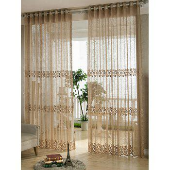 Floral Embroidered Sheer Grommet Top Tulle Curtain