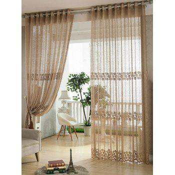 Floral Embroidered Sheer Grommet Top Tulle Curtain - COFFEE BROWN 100*250CM