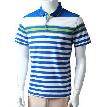 Half Buttoned Striped Polo Shirt
