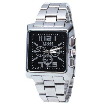 Metallic Strap Analog Square Watch