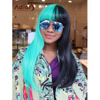 Adiors Long Two Tone Panel Straight Full Bang Synthetic Cosplay Melanie Martinez Wig
