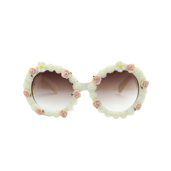 Faux Pearl Rose Embellished Beach Sunglasses