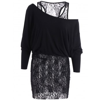 Lace Insert Drop Shoulder Long T-Shirt