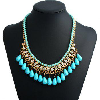 Artificial Turquoise Bohemian Teardrop Necklace