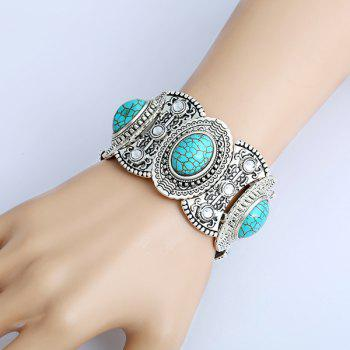 Oval Artificial Turquoise Engraved Bracelet