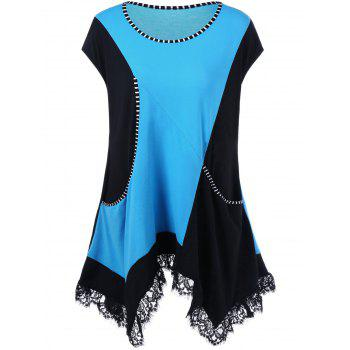 Lace Trim Color Block Plus Size Top