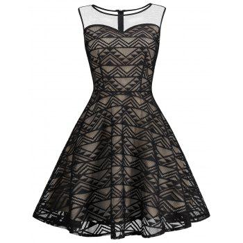 Sheer Mesh Panel Skater Sleeveless Lace Dress
