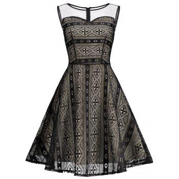 Mesh Panel Skater Sleeveless Lace Dress