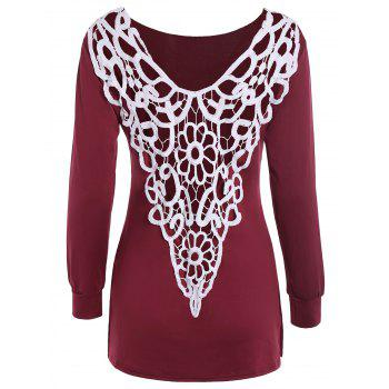 Backless Drop Shoulder T-Shirt with Lace