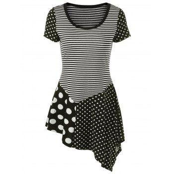 Striped Polka Dot Asymmetrical T-Shirt