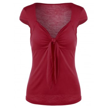 Sweetheart Neck Tie Front T-Shirt