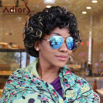Adiors Short Curl Hairstyle Highlight Afro Synthetic Wig