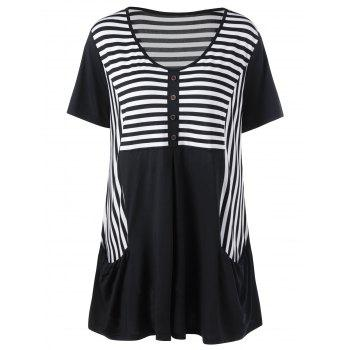 Scoop Neck Stripe Plus Size Henley T-Shirt