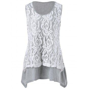 Plus Size Lace Trim Aymmetrical Tank Top