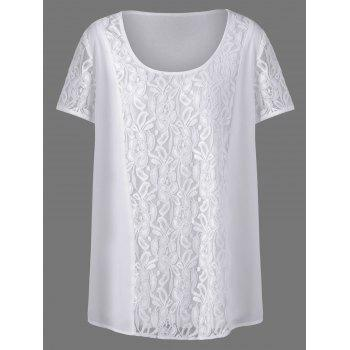 Plus Size Lace Insert Straight T-Shirt