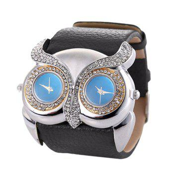 Rhinestone Owl Double Movement Watch